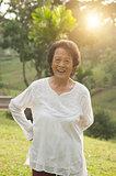 Asian seniors woman exercise at outdoor