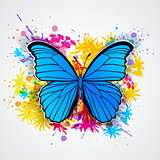Blue butterfly and blots