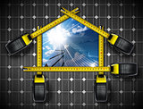 Solar House Project with tape Measures