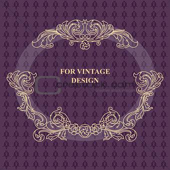 Vector frame with floral ornament on violet background.
