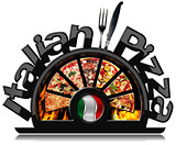 Black Symbol of Italian Pizza with Flames