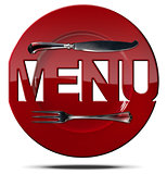 Red Plate Menu - Symbol with Cutlery