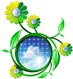 Symbol of Solar Energy with Flowers