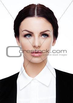 Business office girl portrait  wearing black suit