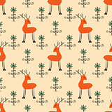 Deer among flowers seamless pattern.