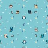Owl vector seamless pattern