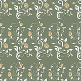 Retro seamless pattern branches roses.