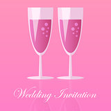 Two Champagne Glasses. Vector illustration