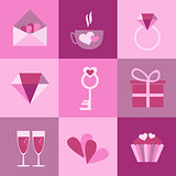 set of icons for Valentines day, Mothers day, wedding