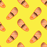 Home Soft Orange Slippers Seamless Pattern