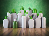 Natural green detergent bottles or containers. Cleaning supplies