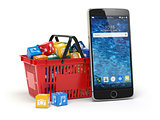 Mobile phone application software icons in the shopping basket