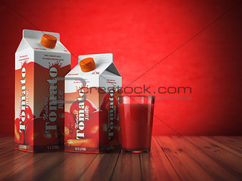 Tomate juice carton cardboard box pack with glass on red backgro