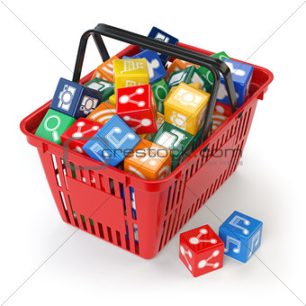 Application software icons  boxes in the shopping basket  isolat