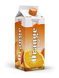 Orange juice carton cardboard box pack isolated on white backgro