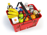 Shopping market basket with variety of grocery products isolated