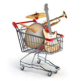 Shopping cart with music instruments isolated on white. Guitar,