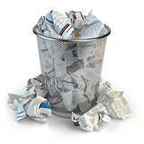 Trash bin full of waste paper. Wastepaper basket isolated on whi