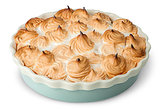 Lemon pie with meringue on dish