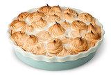 Lemon pie with meringue on dish