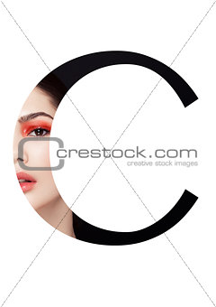 C letter beauty makeup girl creative fashion font