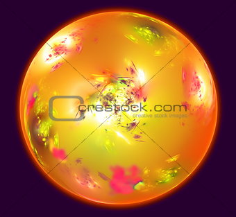 Abstract sphere resembling Mars planet with an atmosphere in dark space. Fractal art graphics