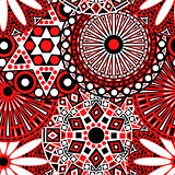 Floral seamless pattern in red, black and white colours
