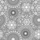 Black and white seamless lacy floral pattern
