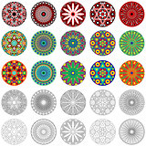 Set of stylized geometric round flowers