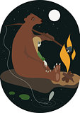 The bear and the girl with campfire flat vector illustration