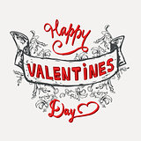 Have a very happy Valentines Day lettering vintage celebrating card.