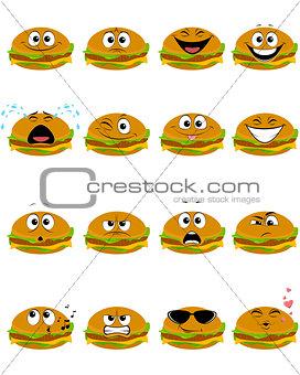 Sixteen hamburgers emojis