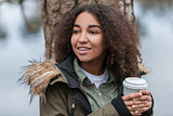 Mixed Race African American Teenager Woman Drinking Coffee