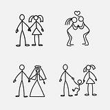 Cartoon icons set of sketch little people in cute miniature scenes.