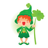 Happy St. Patrick's Day Leprechaun Holding Shamrock