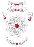 Floral romantic decoration with leaves