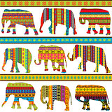 Ethnic motifs  patterned elephants