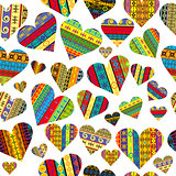 Patterned hearts seamless background