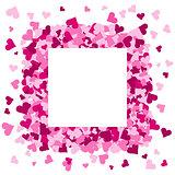 Pink hearts frame