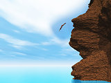 3D female diving off a cliff
