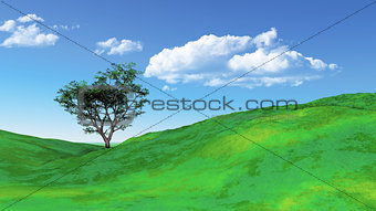 3D grassy landscape with tree