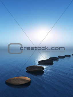 3D stepping stones in the ocean