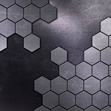 Scratched metal background with hexagon shapes