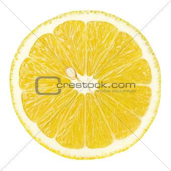 slice of lemon citrus fruit isolated on white