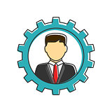 Businessman in gear flat line icon