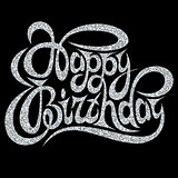 Template for greeting card happy birthday with silver calligraphic inscription