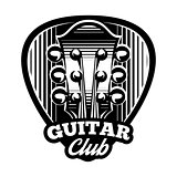 monochrome vector logo template ple trum and guitar