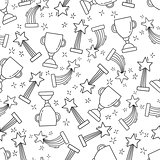 Seamless pattern with hand-drawn awards