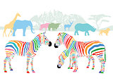 Colors of wild animals in the savannah