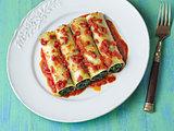 rustic italian vegetarian spinach cannelloni pasta